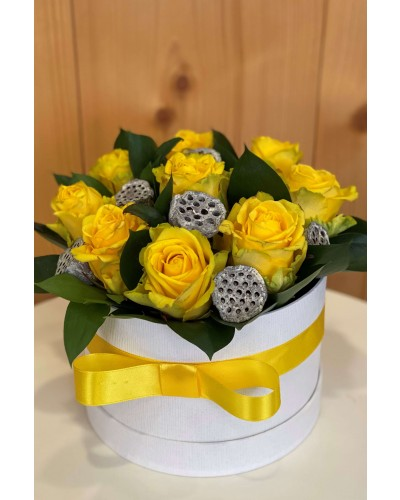 Box zo žltých ruží